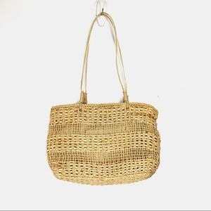 Vintage straw purse boho wicker woven natural